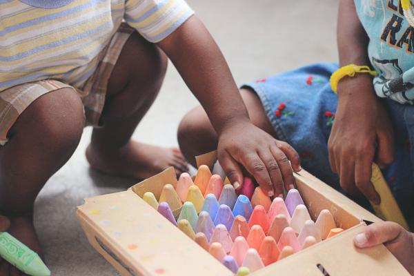 children with chalks